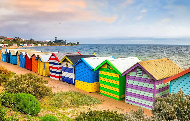 Фото обои море, Австралия, Мельбурн, пляжный домик, Брайтон-Бич