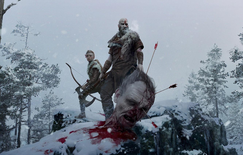 Фото обои снег, деревья, оружие, axe, кровь, голова, лук, великан, blood, топор, стрелы, God of war, trees, …