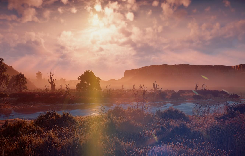 Фото обои пейзаж, закат, река, скалы, пустыня, эксклюзив, Playstation 4, Guerrilla Games, Horizon Zero Dawn