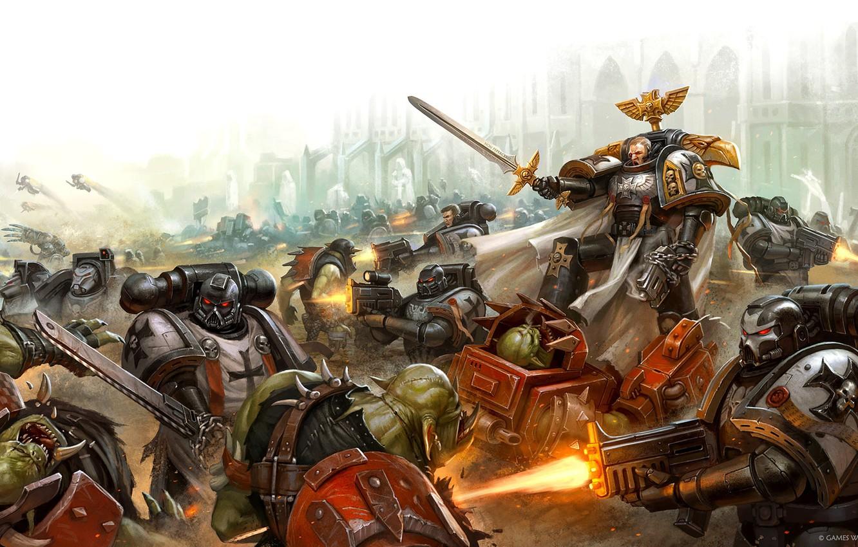 Фото обои Black Templars, орки, космодесант, space marines, battle, orcs, вархаммер, Warhammer 40 000, Черные Храмовники