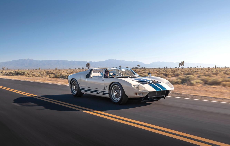 Фото обои дорога, Roadster, водитель, 1965, Ford GT40, Prototype (GT108)