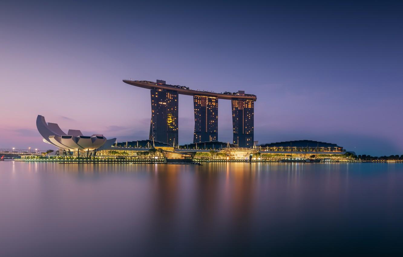 Фото обои Singapore, architecture, Morning, Marina Bay