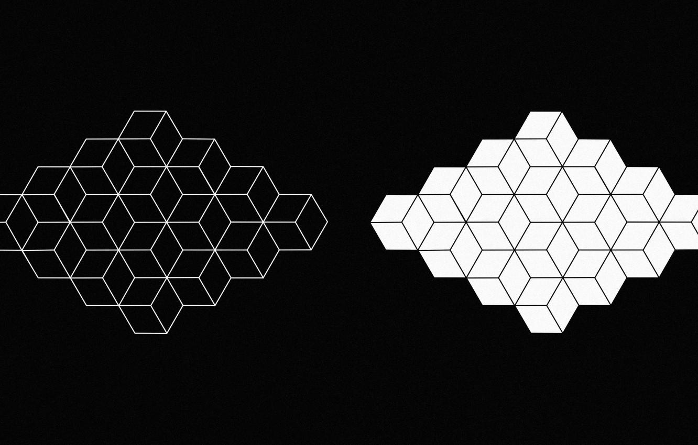 Фото обои белый, абстракция, черный, фигура, white, геометрия, black, монохром, monochrome, figure, geometry