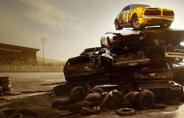Фото обои машины, гора, куча, Wreckfest