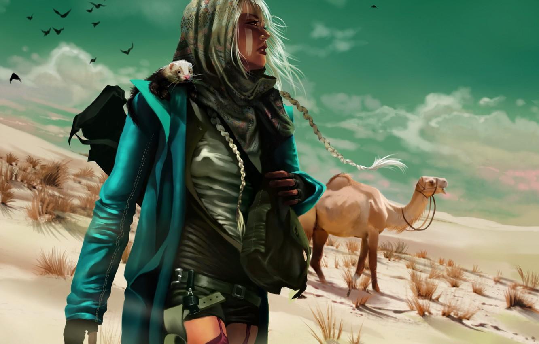 Фото обои девушка, птицы, оружие, Пустыня, верблюд, зверек, вгляд, косы