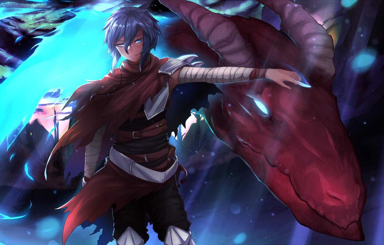 Фото обои взгляд, дракон, рука, парень