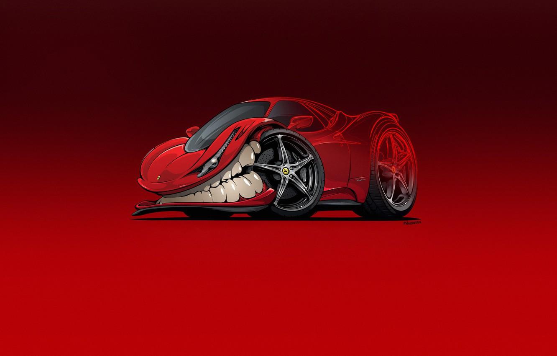 Фото обои Авто, Минимализм, Машина, Зубы, Фон, Ferrari, Car, Art, 458, Ferrari 458 Italia, Illustration, Транспорт, Ferrari …