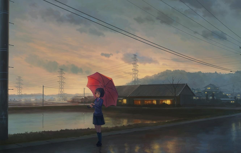 Фото обои столбы, провода, дома, вечер, Япония, ЛЭП, школьница, ожидание, водоем, асфальт после дождя, красный зонт, свет …