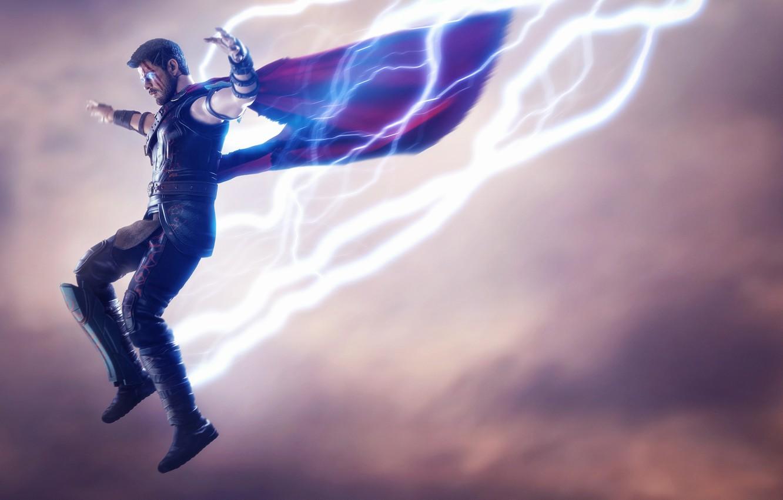 Фото обои прыжок, молнии, lightning, Marvel, Тор, бог грома, god of thunder, Thor Ragnarok, Тор 3: Рагнарёк