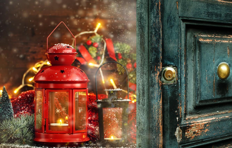 Фото обои украшения, Новый Год, Рождество, фонарь, Christmas, wood, New Year, decoration, xmas, lantern, Merry, fir tree, …