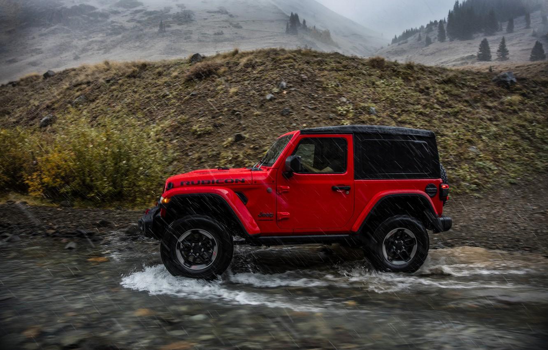 Фото обои вода, красный, движение, дождь, 2018, Jeep, Wrangler Rubicon