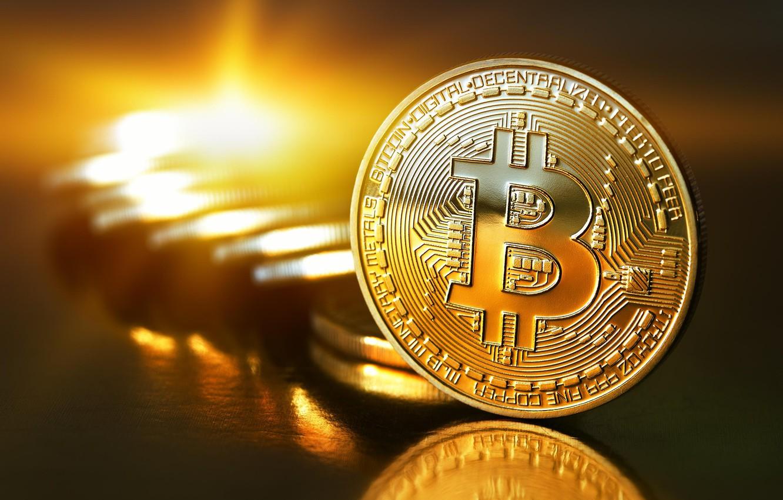 Фото обои монеты, gold, coins, bitcoin, биткоин, btc
