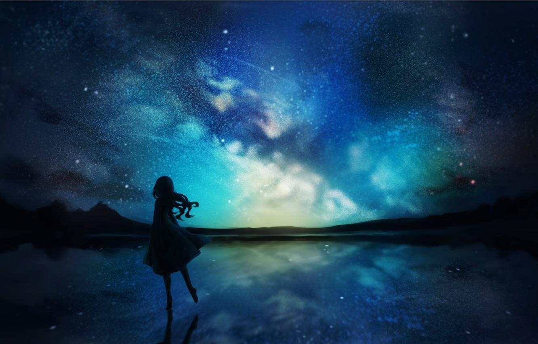 Фото обои небо, вода, девушка, ночь, природа