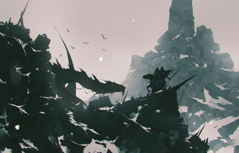 Фото обои Горы, Лошадь, Дракон, Скалы, Монстр, Бой, Воин, Битва, Fantasy, Dragon, Art, Фантастика, ömer tunç, by …