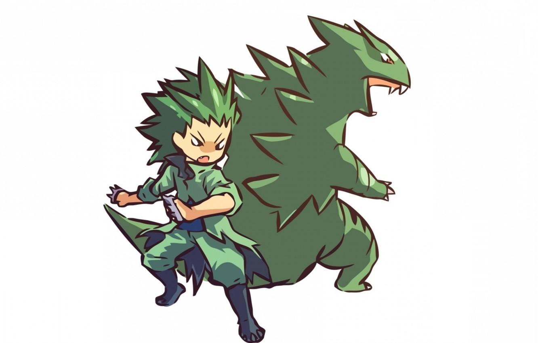 Фото обои мальчик, boy, покемон, pokemon, Tyranitar, хуманизация, Тиранитар