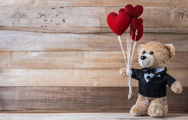Фото обои любовь, игрушка, сердце, медведь, сердечки, red, love, bear, heart, wood, romantic, teddy, valentine's day, gift, …