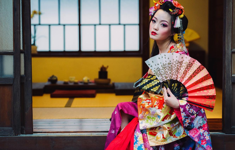 Картинки гейши с веером