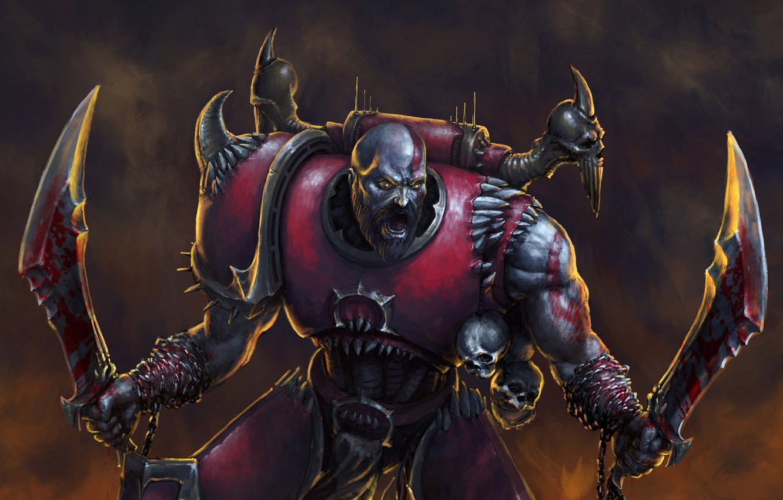 Фото обои Kratos, God of War, Warhammer 40 000, blades of chaos