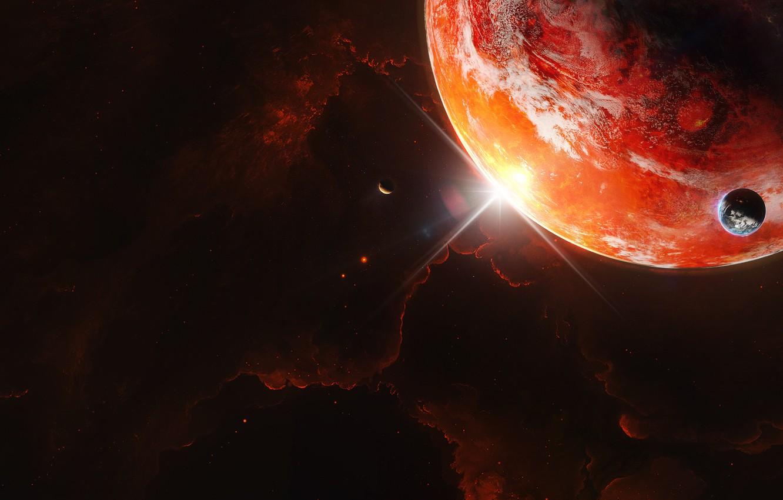 Фото обои Звезды, Планета, Космос, Туманность, Вселенная, Свет, Планеты, Fantasy, Арт, Stars, Space, Блик, Art, Спутник, Planet, …