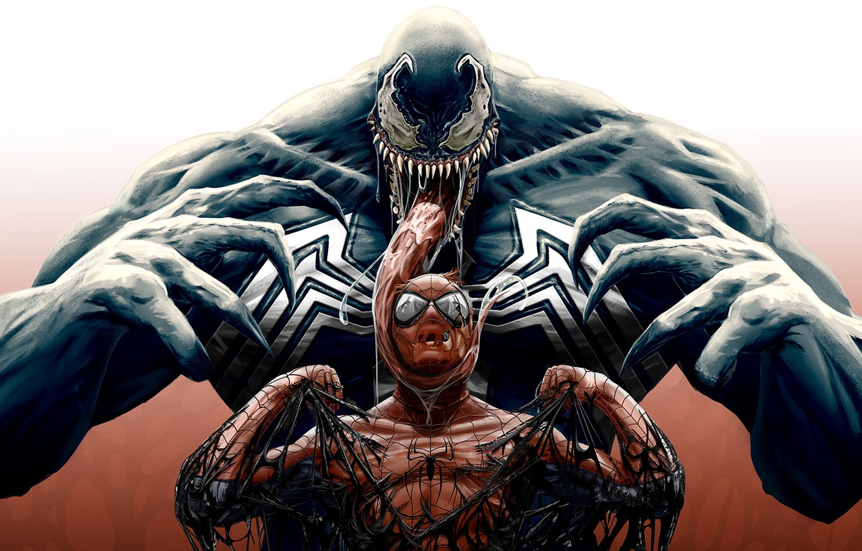 Фото обои арт, комикс, Человек-паук, MARVEL, Spider-Man, Веном, Venom