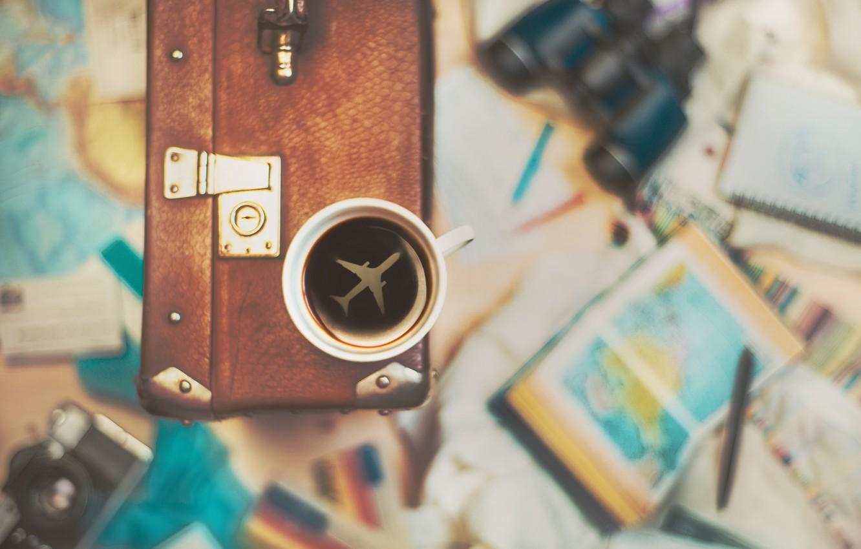 Фото обои чашка, чемодан, путешествие, cup, travel, suitcase, Dina Belenko
