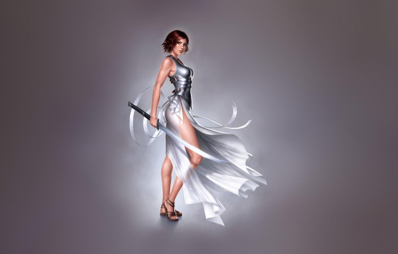 Фото обои Девушка, Минимализм, Girl, Меч, Платье, Арт, Art, Minimalism, Blade, Sword, Characters, Dress, Warren Louw, Клинок, …