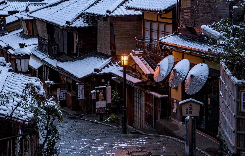 Фото обои Дома, Зима, Город, Япония, Улица, Киото