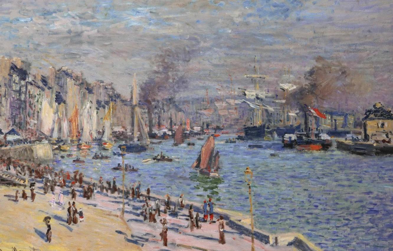Фото обои пейзаж, город, река, лодка, клод моне