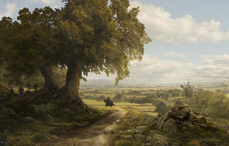 Фото обои долина, мельница, всадник, Solomon Kane, France Landscape