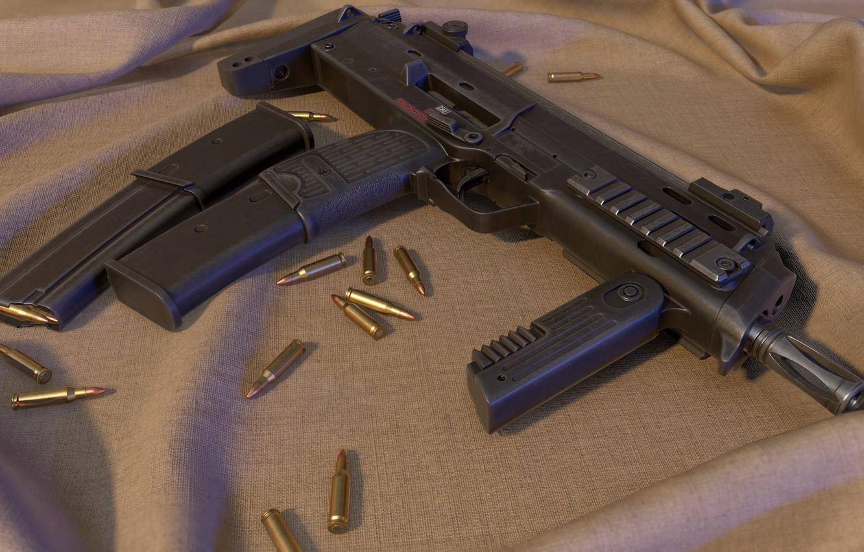 Фото обои рендеринг, оружие, gun, weapon, render, SMG, MP7, sub machine gun, пистолет пулемёт, smg, HK MP7A1, …