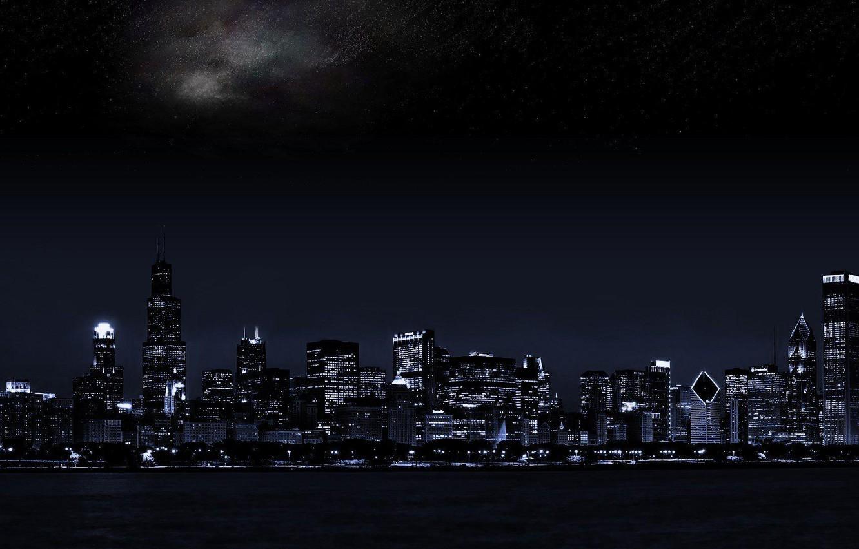 Фото обои ночной город, dual monitor, тёмный фон