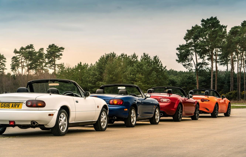 Фото обои Mazda, колонна, MX-5, родстеры, четыре поколения (NA-NB-NC-ND)