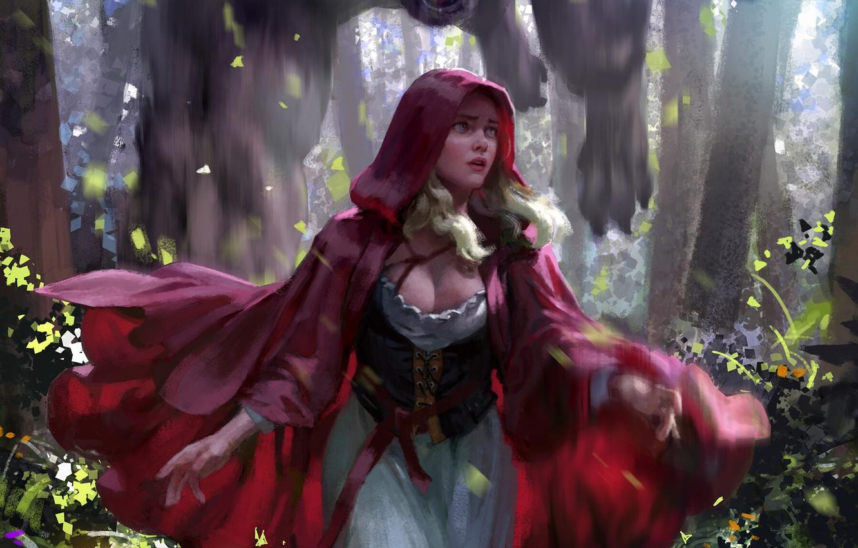Фото обои безысходность, когти, ужас, Красная Шапочка, Red Riding Hood, Серый Волк, by Hanho Lee, чудовиЩе