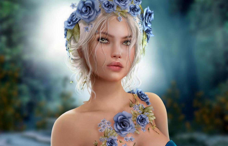 Фото обои девушка, голубые, блондинка, венок из роз
