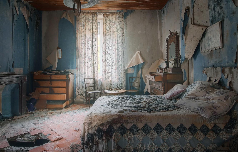 Фото обои комната, кровать, натурализм