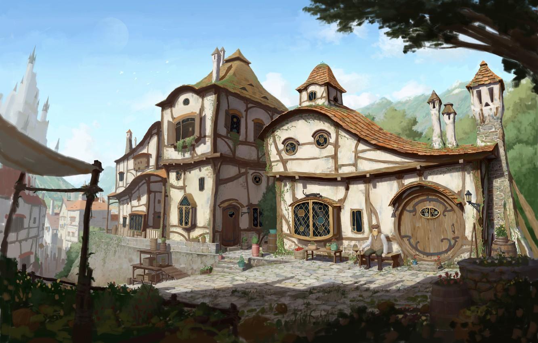Фото обои дом, фентези, улица, арт, 2d, Medieval Art Nouveau Village, посёло, 달 봉이