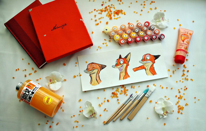 Фото обои цветок, цветы, коробка, краски, апельсин, блокнот, кисточки, мандарин, зверополис, акриловые краски, ник вайлд