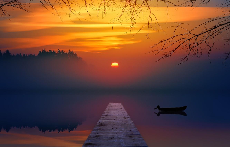 Фото обои закат, озеро, лодка, мостик