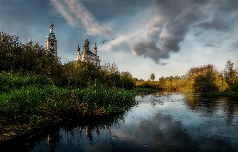 Фото обои природа, храм, Russia, Savinskoye, Yaroslavskaya Oblast'