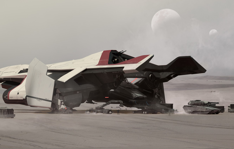 Фото обои Самолет, Луна, Танк, Art, Спутник, Game, Транспорт, Spaceship, Star Citizen, Реактивный самолет, Crusader, Science Fiction, ...