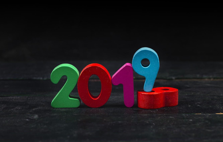 Фото обои фон, colorful, Новый Год, цифры, New Year, Happy, 2019
