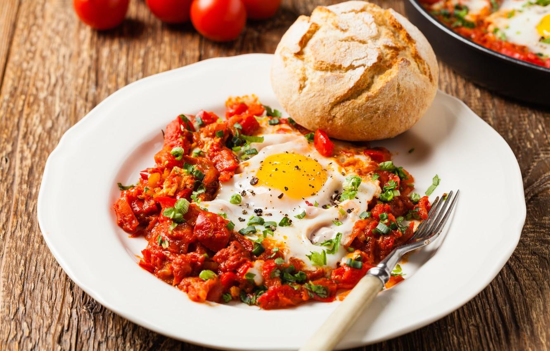 Фото обои завтрак, хлеб, вилка, яичница