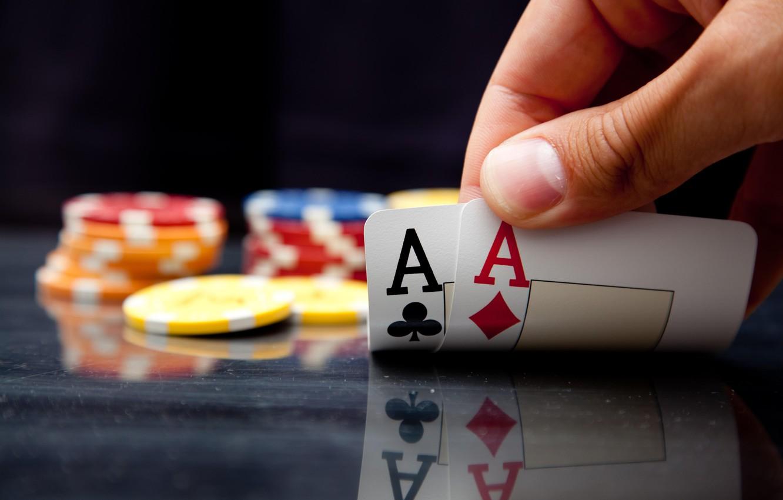 Фото обои карты, казино, 2 туза