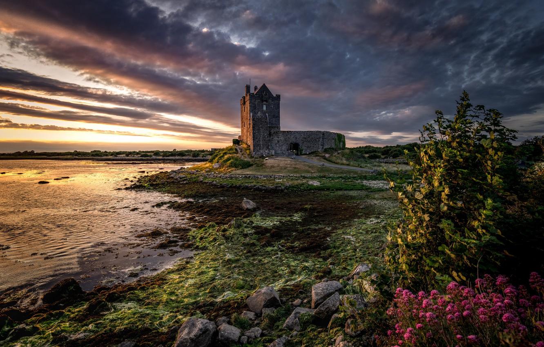 Фото обои Sunset, Ireland, Galway, Dunguaire, Dunguaire Castle