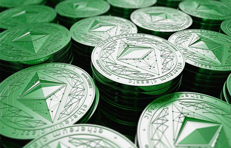 Фото обои green, размытие, лого, зелёный, logo, монеты, coins, etc, ethereum classic, эфир классик, эфириум классик