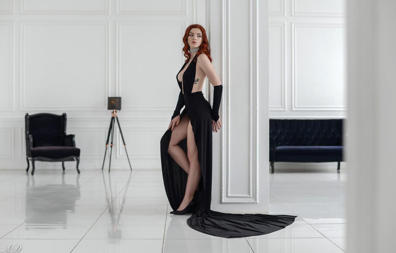 Фото обои girl, cleavage, dress, legs, breast, photo, photographer, model, tattoo, redhead, chest, high heels, black dress, …