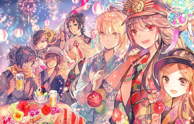 Фото обои праздник, салют, персонажи, фестиваль, Fate / Grand Order, Судьба великая кампания