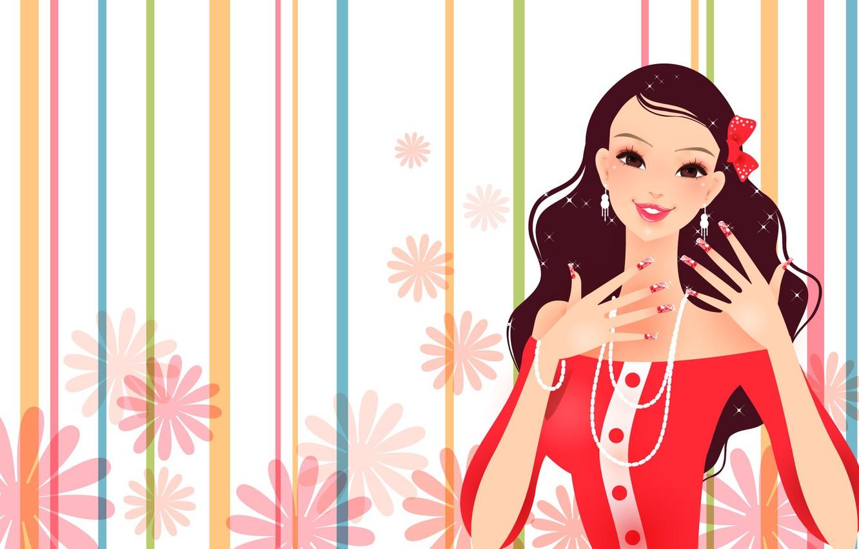 Фото обои украшения, радость, цветы, улыбка, бусы, fashion, бантик, мода, brown eyes, smile, flowers, карие глаза, bow, …