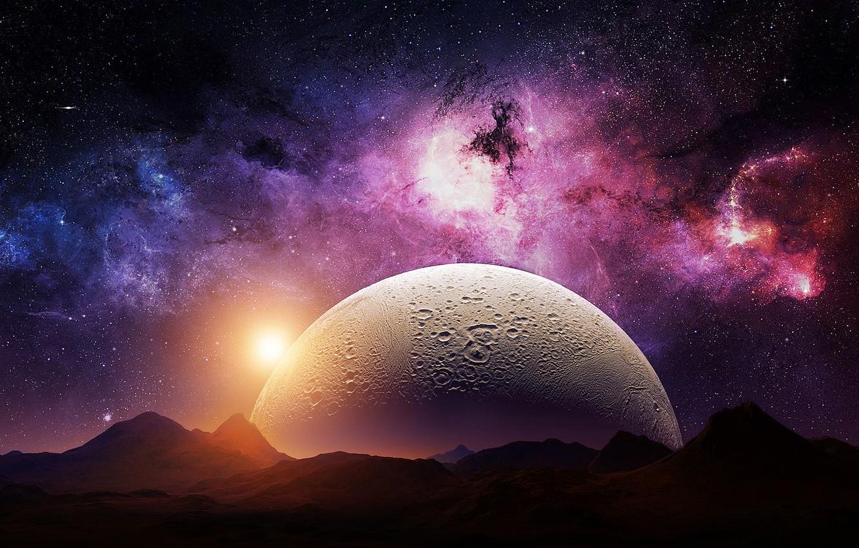 Фото обои lights, space, universe, moon, sky, digital, nebula, mountains, stars, night sky, planet, galaxy