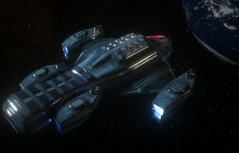 Фото обои космос, земля, корабль, space, spaceship